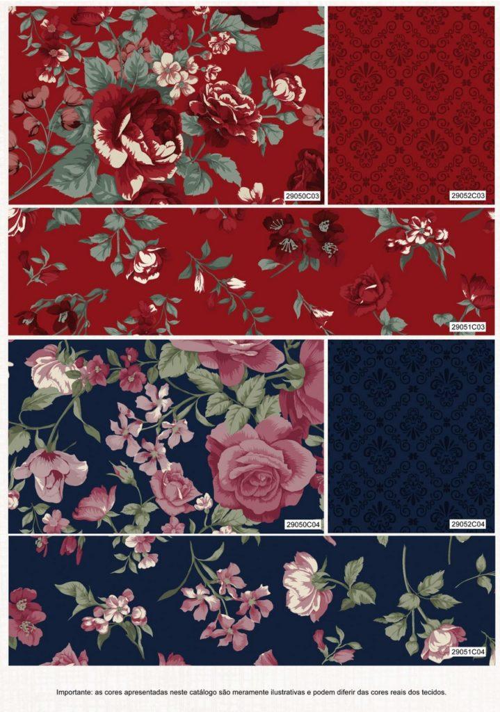 Catalogo Colecao Roses in Bloom fundo vermelho