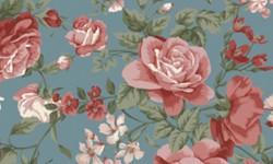 29050C02 Coleção Roses in Bloom Flores Grandes Azul Rosa Verde
