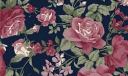 29050C04 Coleção Roses in Bloom Flores Grandes Azul Rosa Verde