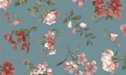 29051C02 Coleção Roses in Bloom Flores Médias Azul Rosa Verde